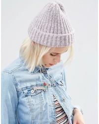 Bonnet duveteux en tricot violet clair Asos