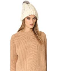 Bonnet en fourrure en tricot beige Rebecca Minkoff