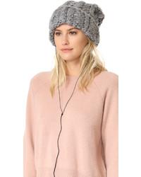 Bonnet en fourrure en tricot gris Rebecca Minkoff