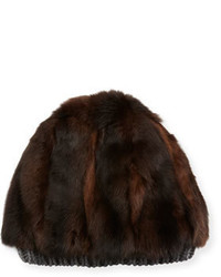 Bonnet en fourrure marron foncé
