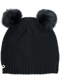 Bonnet en fourrure noir Twin-Set