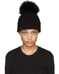 Bonnet en fourrure noir Yves Salomon
