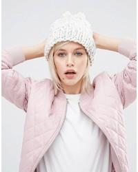 Bonnet en tricot blanc Asos