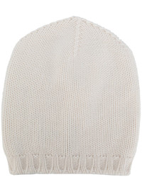 Bonnet en tricot blanc Lamberto Losani