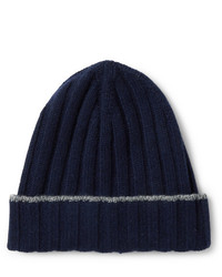 Bonnet en tricot bleu marine Brunello Cucinelli