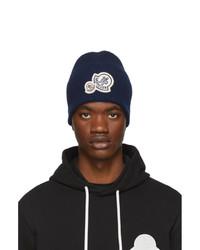 Bonnet en tricot bleu marine Moncler