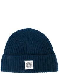 Bonnet en tricot bleu marine Stone Island