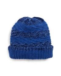Bonnet en tricot bleu