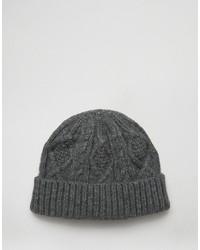 Bonnet en tricot gris foncé Asos