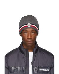 Bonnet en tricot gris foncé Moncler