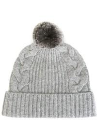 Bonnet en tricot gris N.Peal