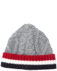 Bonnet en tricot gris Thom Browne
