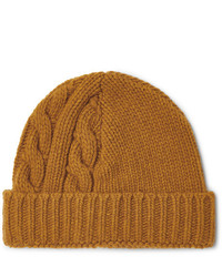 Bonnet en tricot moutarde