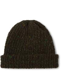 Bonnet en tricot olive Inis Meáin