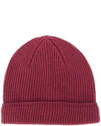 Bonnet en tricot pourpre foncé Canali