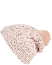 Bonnet en tricot rose