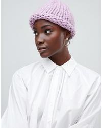 Bonnet en tricot rose Vero Moda