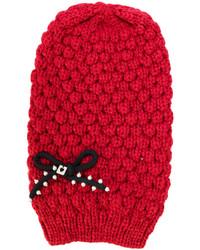 Bonnet en tricot rouge Twin-Set