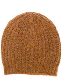 Bonnet en tricot tabac Isabel Marant