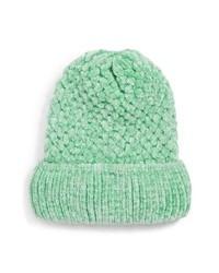 Bonnet en tricot vert menthe