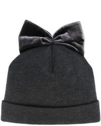 Bonnet en velours gris foncé Federica Moretti