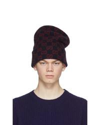 Bonnet imprimé bleu marine Gucci