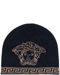 Bonnet imprimé bleu marine Versace