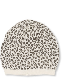 Bonnet imprimé léopard blanc