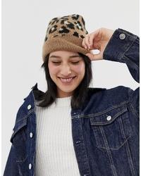 Bonnet imprimé léopard marron ASOS DESIGN