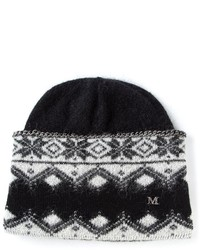 Bonnet imprimé noir et blanc