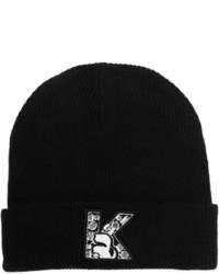 Bonnet imprimé noir et blanc Karl Lagerfeld