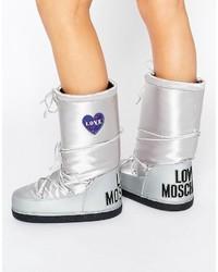 Bottes argentées Love Moschino