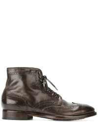Bottes brogue en cuir marron Officine Creative
