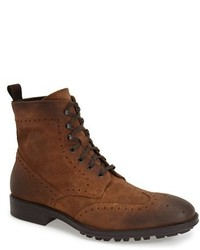 Bottes brogue en daim marron