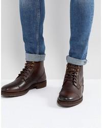Bottes de loisirs en cuir marron foncé Burton Menswear