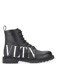 Bottes de loisirs en cuir noires et blanches Valentino
