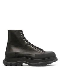 Bottes de loisirs en cuir noires Alexander McQueen