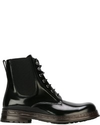 Bottes de loisirs en cuir noires Dolce & Gabbana