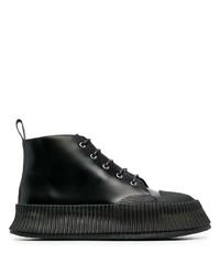 Bottes de loisirs en cuir noires Jil Sander