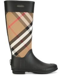 Bottes de pluie écossaises noires Burberry