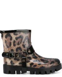 Bottes de pluie imprimées léopard marron Dolce & Gabbana