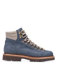 Bottes de travail en cuir bleues Brunello Cucinelli