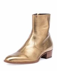 Bottes de travail en cuir dorées Saint Laurent