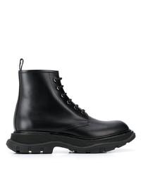 Bottes de travail en cuir noires Alexander McQueen