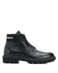Bottes de travail en cuir noires Emporio Armani