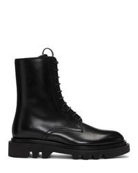 Bottes de travail en cuir noires Givenchy