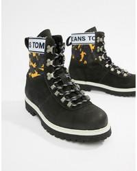 Bottes de travail en cuir noires Tommy Jeans
