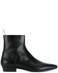 Bottes en cuir noires Saint Laurent