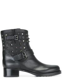 Bottes en cuir noires Valentino Garavani