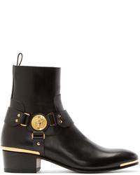 Bottes en cuir noires Versace